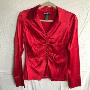Bebe Red Satin Ruched Button Down